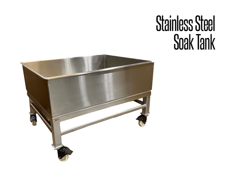 Our industrial stainless steel hygienic soak tank is constructed of fully welded 304 stainless steel.   It features locking, swivel casters for easy moveability.