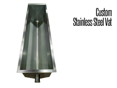 Our industrial stainless steel tanks, vats and weldements are constructed of fully welded 304 stainless steel.