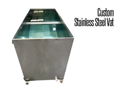 Thomas Conveyor offers a variety of custom hygienic, stainless steel tanks, vats and weldements, constructed of fully welded 304 stainless steel.