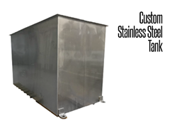 Custom Stainless Steel Tanks and Vats can include full covers, footing, casters, foot pads and drainage options.
