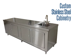 Our custom industrial stainless steel cabinets are constructed of fully welded 304 stainless steel.