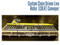 The custom conveyor system featured shot guards on the rollers to withstand sand and abrasives in a blast room.