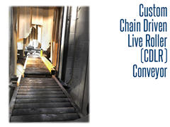 Our custom CDLR conveyor is designed to not only withstand the rigors of a sand blasting room, but can easily handle weights of over 3000 lbs.