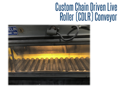 Sealed bearings and roller shot guards help to keep contaminants and debris from facilitating roller movement during the sand blast process on our custom CDLR conveyor.