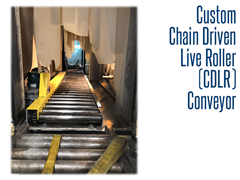 Once the engraving process is complete the custom CDLR conveyor transports stone monuments to a retrieval area.