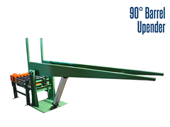 The 90° barrel upender consists of a two post cradle and a corresponding CDLR conveyor.