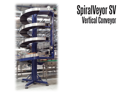 The SpiralVeyor SV Series Vertical Conveyor is ideal for transporting totes, crates, containers, cartons, trays, bags and packaged bottles.