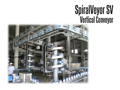 SpiralVeyor SV Vertical Conveyor with two spiral conveyors connecting an overhead conveyor system