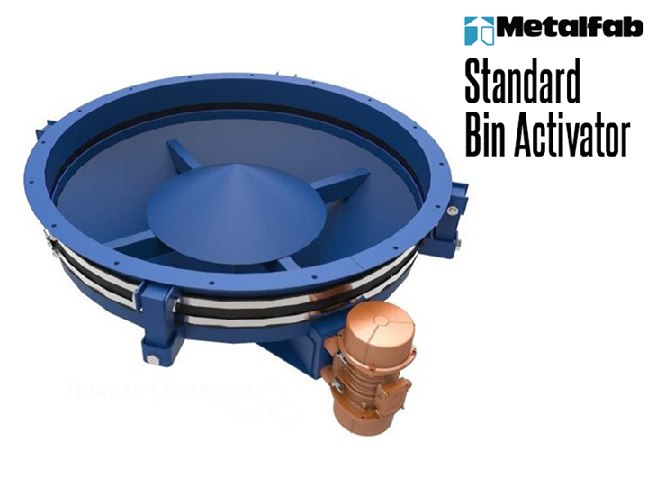 Metalfab Bin Activators are used to create flow of dry bulk solids from vertical storage bins.