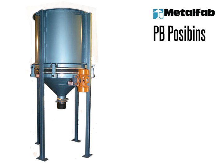 Metalfab's PB Posibin allows dry bulk solids issue-free discharge from storage silos and bins.