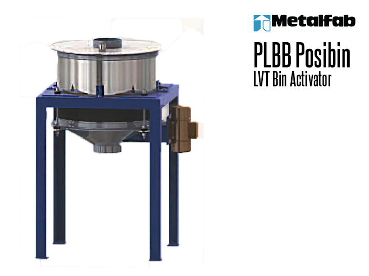 The Metalfab PLBB Posibin is a low vibration transmission (LVT) bin activator that utilizes threaded rod isolators as hanger arms to reduce vibration