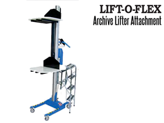 The LIFT-O-FLEX Archive Lifter; Designed to be used in archive rooms to assist with lifting and moving files, boxes & containers of up to 200 lbs. in weight safely