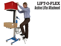The LIFT-O-FLEX Archive Lifter; Shown with Ladder in Use