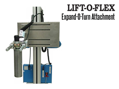 Lift-O-Flex™ Expand-O-Turn™ Attachment allows the operator to grip and turn rolls of paper and film easily and safely.