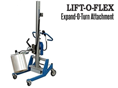 Lift-O-Flex™ Expand-O-Turn™ Attachment; The Expand-O-Turn™ is operated via push buttons and is simple and easy to use and will not damage the core or the roll surface.