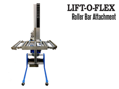 Lift-O-Flex Roller Bar attachment allows users to lift and move overweight and oversized items for easy transport onto a conveyor system.