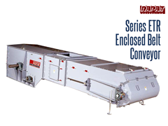 The Rapat Series ETR is an industrial duty totally enclosed frame conveyor with CEMA troughing idlers and a self-cleaning UHMW slide belt return