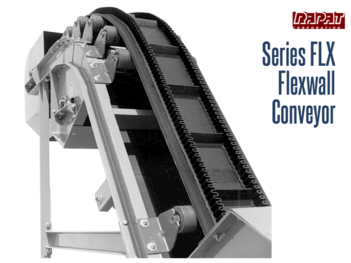 The Rapat Series-FLX is an industrial duty corrugated sidewall belt conveyor that is capable of moving product at steep angles up to 90 degrees.